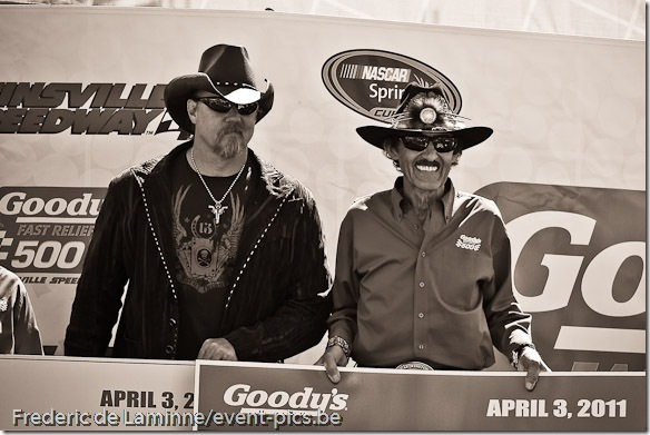 Trace Adkins (L) and Richard Petty (R) are seen on stage before the Goody's Fast Relief 500 at Martinsville