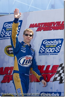 Brad Keselowski on stage prior to the Goody's Fast Relief 500 at Martinsville