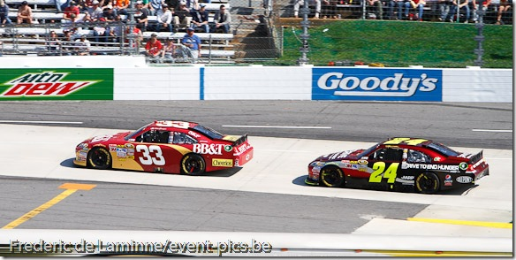 Clint Bowyer (33) is chased by Jeff Gordon (24) during the Goody's Fast Relief 500 at Martinsville